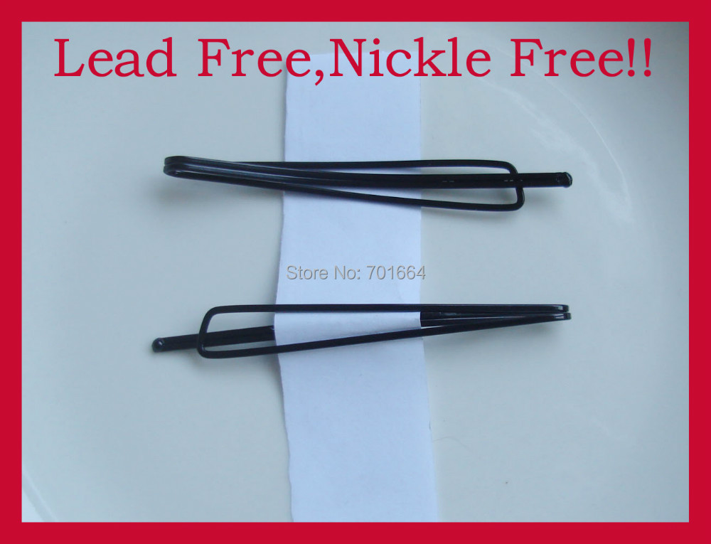 20PCS 7.0cm 2.75 kinky style black plain single prong Metal Bobby Pin hair barrettes with smooth tip at nickle free lead free