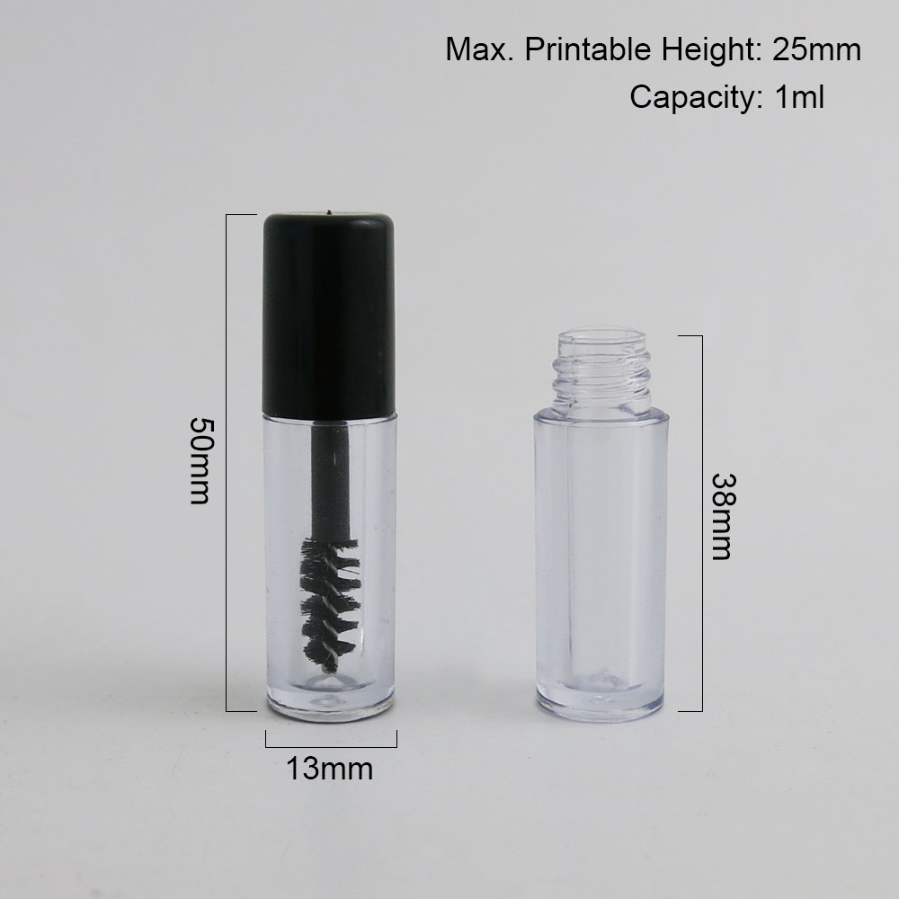 Купить с кэшбэком 5pcs Travel Mini Empty Clear AS Mascara Tube 1ml Vial Bottle Container with Black Cap for Eyelash Growth Mascara