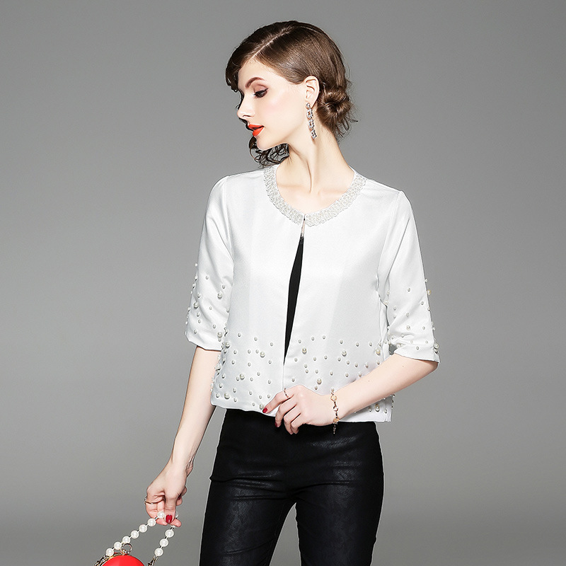 DUOUPA White Office Lady Solid Pearl Embellished  Round Neck Jacket Autumn Workwear Casual Women Coat And Outerwear