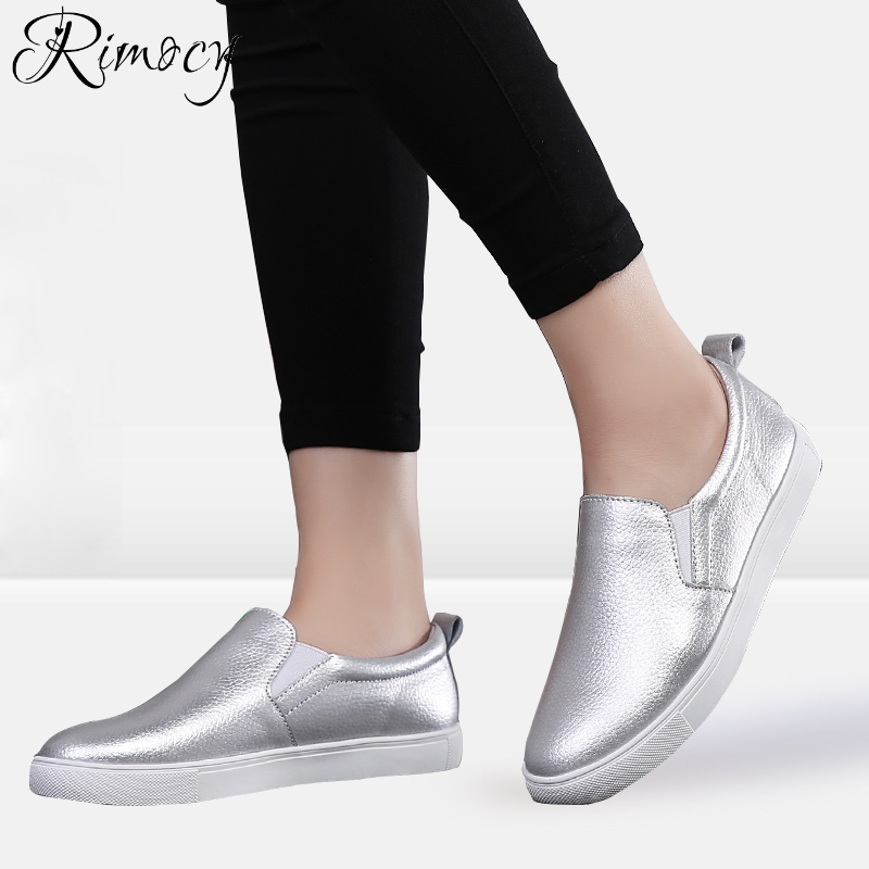 Rimocy 2018 Spring Summer Women Loafers Shoes Genuine Leather Slip On Casual Shoes Woman Fashion ballet flats Shoes Moccasins 2018 spring women flats shoes women genuine leather shoes woman cutout loafers slip on ballet flats ballerines flats 169