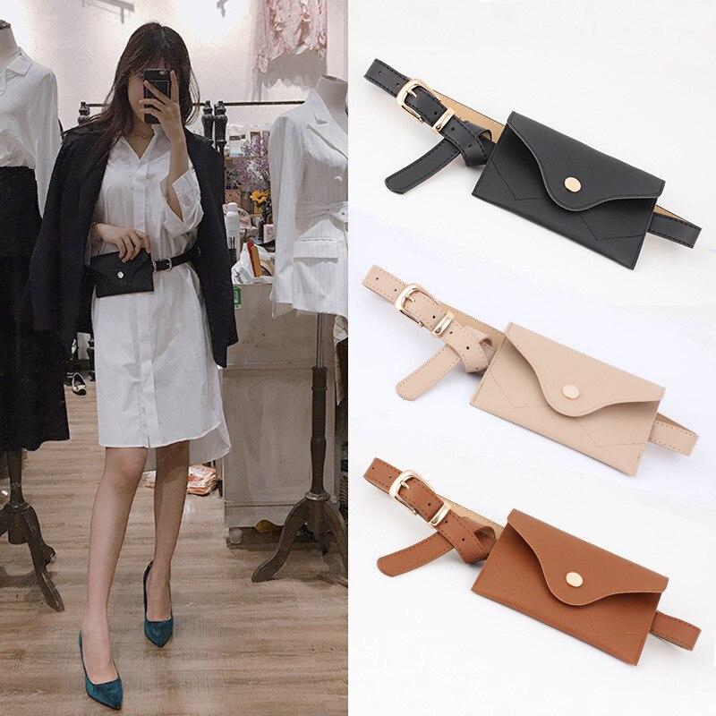 2019 New Fashio Metal Pin Buckle Waist Pack Belt for Dress Female Belt bag Pocket Decorative Waistband for Woman Pu Wide belt