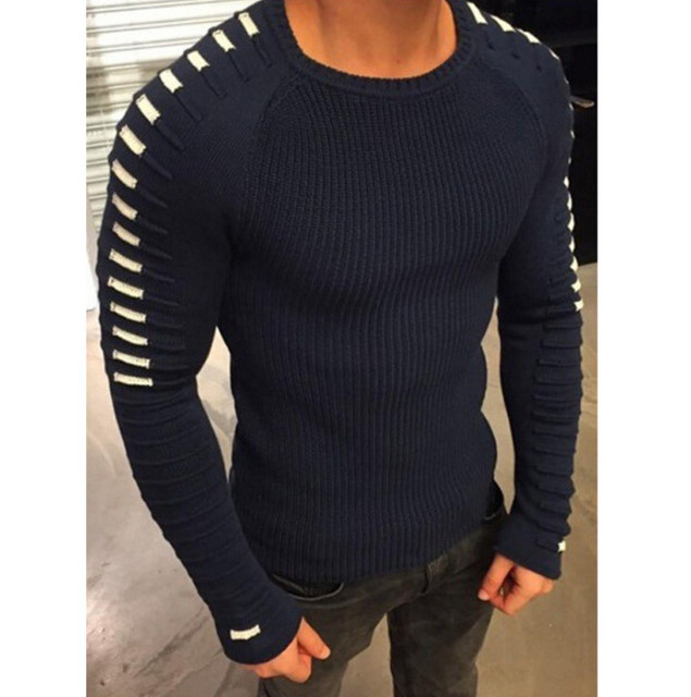 Winter Warm Slim Sweater Knitted Men Casual Long Sleeve Male Pullover Round Neck Patchwork Quality knitwear Spring Basic Tops