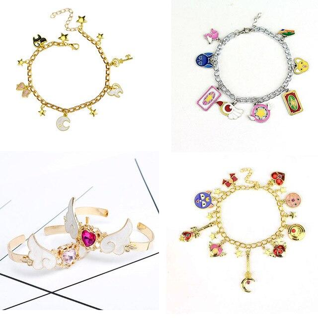dongsheng Sailor moon charm bracelet Cat Cardcaptor Sakura Magic Wand Cuff Wings Heart Love Bracelets & Bangles -25