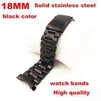 2014 New Product 1PCS High Quality 18MM Solid Stainless Steel Links Watch Band Watch Strap Black