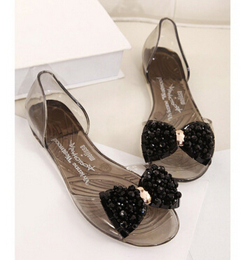 983edb32ecf hot 2014 Melissa jelly crystal bow sandals women s flat heel rhinestone  transparent plastic shoes flat