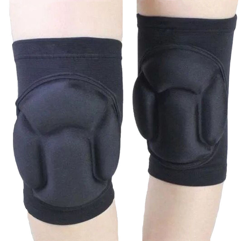 Unisex knee sleeve sponge pad basketball, football thick knee support protector sports safety guard black
