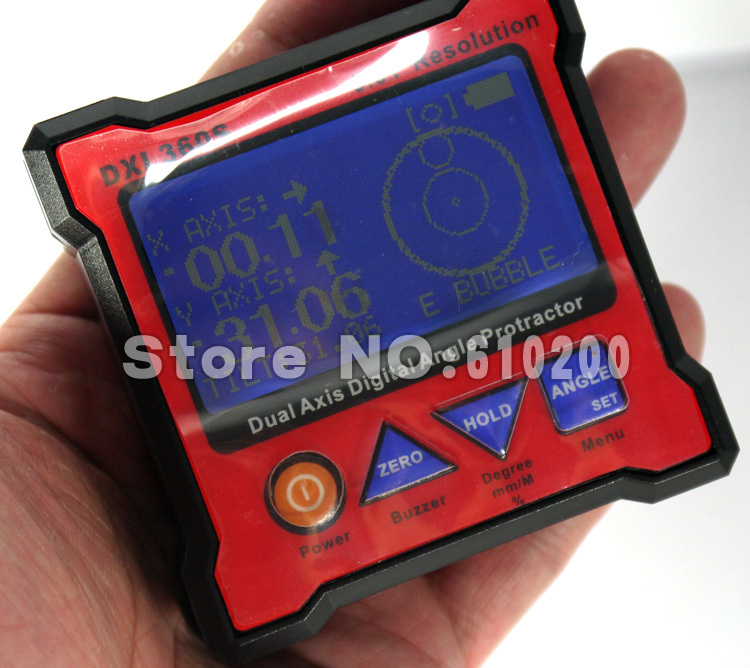 Free shipping DXL360S New Mini Digital Protractor Inclinometer Dual Axis Level measure box Angle ruler Gyroscope function free delivery level 24 in lightweight hard plastic 3 bubble triple ruler measure tool