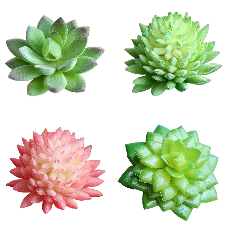 Mini Green Faux Succulents Artificial Plants Fake Assorted Stem Land Lotus Garden Home L ...