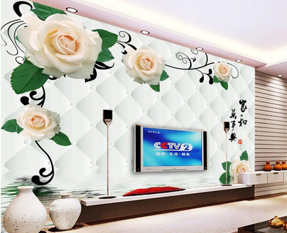 Custom photo wallpaper 3D stereoscopic Rose reflection 3d wallpaper modern for living room murals