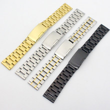 Generic 18/19/20/22mm Straight End Black Stainless Steel Bracelet Watch Band Solid Links Fit Any Watch Replace men women stainless steel bracelet watch band strap straight end solid links june17