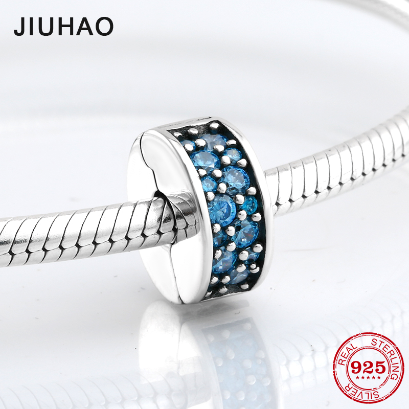 100% 925 Sterling Silver Shining Elegance Clip Charm beads With blue CZ Fit Original Pandora Bracelet Pendant Jewelry