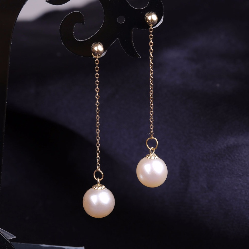 Robira 2017 Fashion Natural Pearl Earrings For Women 18K Yellow Gold Jewelry Long Dangling Pearl Stud Earring Wedding Gift