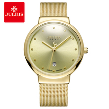 Купить с кэшбэком JULIUS JA-426 Men's Silver Gold Brown Black Mesh Stainless Steel Quartz Analog Diamante Dial Fashion Casual Waterproof Watch