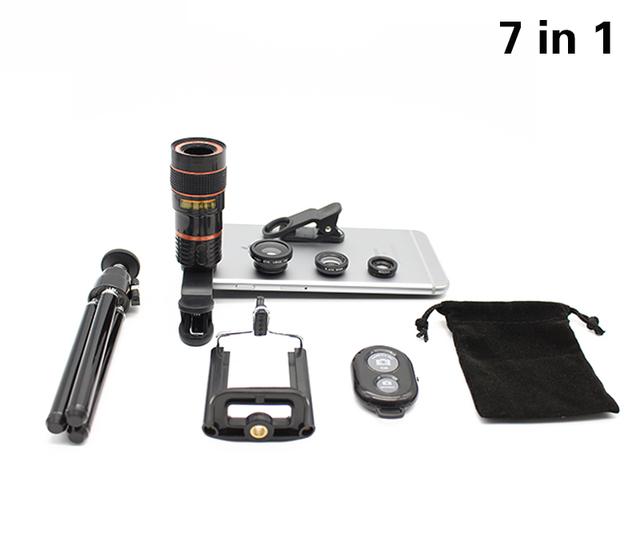 Kit 7in1 Lupa Telescopio Del Zumbido 8x Lente de La Cámara Del Teléfono Trípode Monte 3in1 Lentes Lentes de ojo de Pez Obturador Bluetooth Para Teléfono Inteligente