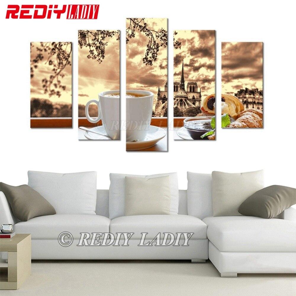 Diamant peinture triptyque café & nourriture 5D diamant broderie Multi photos strass point de croix modulaire mur Art décor à la maison