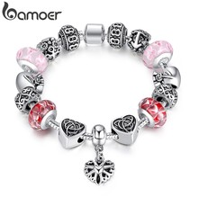 BAMOER Silver Color Bracelet for Lady With Heart Charms in Oxidation Bracelet & Bangles Gift for Family PA1822(China)