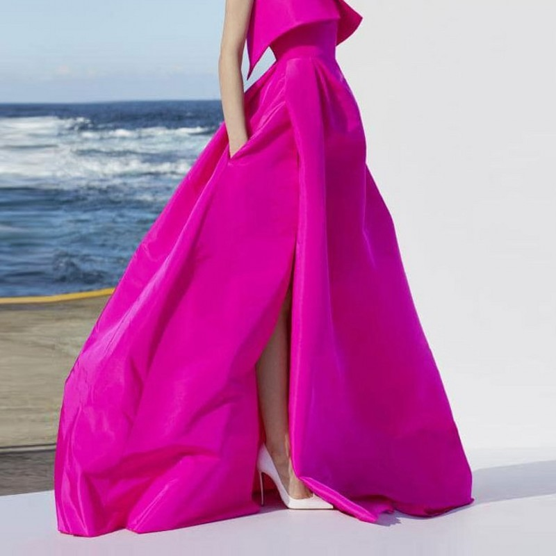 Dynamic Fuchsia Long Skirts For Wedding Party Zipper Style Maxi Skirt For Women Custom Made High Quality Slit Skirts Pockets