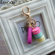 EX-MOON New Design Creative Macarons cake keychain Women Hanging bag Mobile Phone Car Pendant keychains