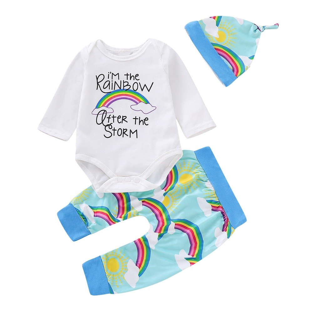 Puseky 3Pcs Baby Girl Boy Clothes Newborn Winter Set Letter Print Long Sleeve Romper Jumpsuit Rainbow Pants Hat Baby Clothes