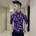Mens Print Shirt Plus Size 4XL 5XL Summer Navy Blue Flower Shirt Men Club Party Vintage Chemise Homme Slim Fit Dress Shirt