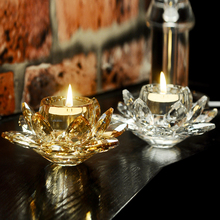 High Quality Elegant Crystal Glass Lotus Flower Candle Holders Feng Shui Home Decor Big Tealight Stand Holder Candlestick
