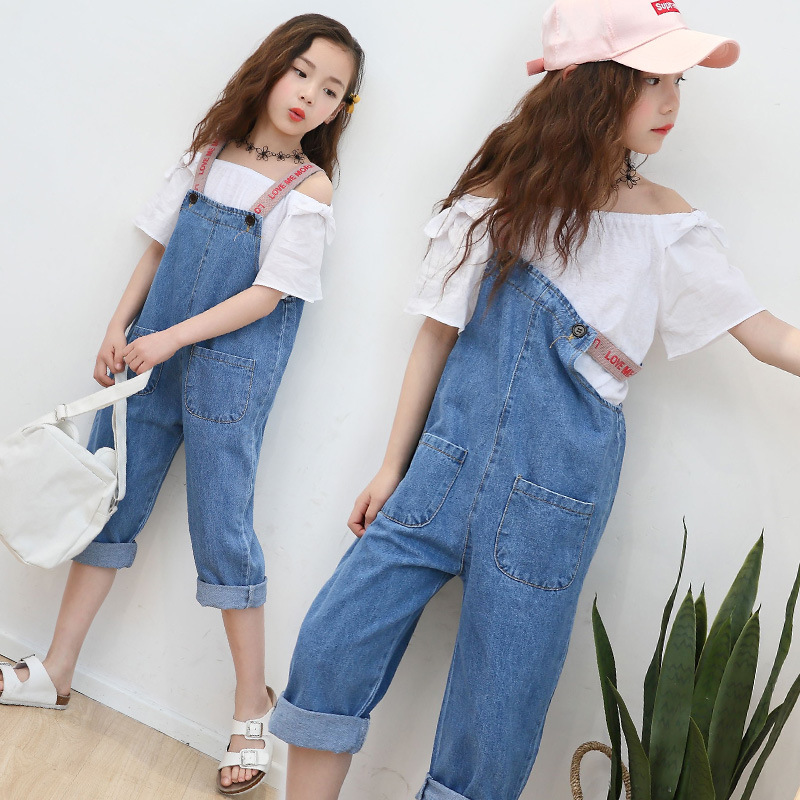 74c21a0fd0a Big Girls Jeans Overalls Summer Fashion Children Denim Jumpsuit Kids Girls  Jumpsuits Romper Trousers Girls Denim Overalls H162 - Best Kids Clothing  Stores ...