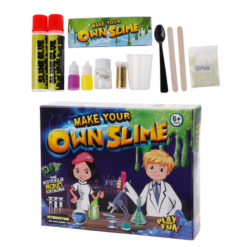 Slime Kit DIY Science Lab For Kids Glow Balls Glitter Instructions Measuring Cup
