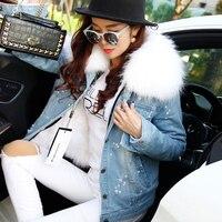2017 корейский 100% натуральной большой енота меховой воротник Для женщин Зимняя куртка джинсовые натуральным лисьим Меховая подкладка Джинсы