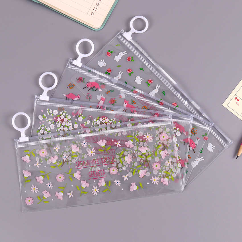 Kawaii Transparent PVC Waterproof Pencil Case Stationery Bags Small Flowers Animals Pencil Bag School Supplies Student Gift