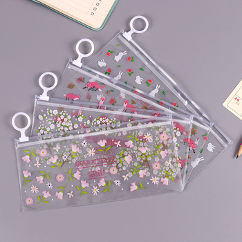 Kawaii Transparent PVC Waterproof Pencil Case Stationery Bags Small Flowers Animals Bag School Supplies Student Gift