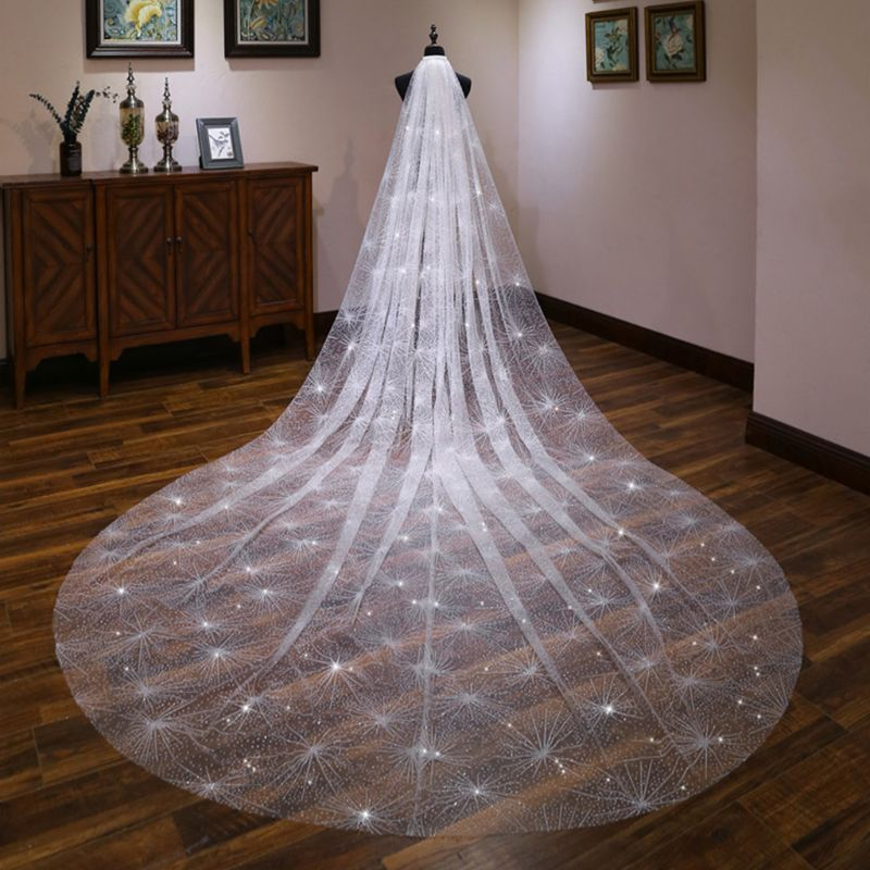 One-Layer Women White Trailing Long Wedding Veil Seashell Spray Glitter Rhinestone Cut Trim Luxury Starry Sky Bridal Veil