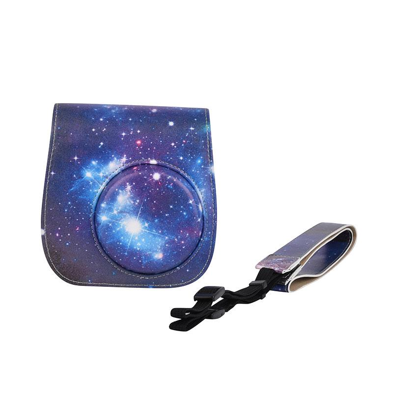 Cewaal Starry Sky Leather Camera Bag For Fuji Fujifilm Instax Mini 8 Case with Strap Cover Pouch Protector For Polaroid Camera