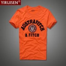 Yiruisen clothing מותג גברים 100% כותנה חולצה שרוול קצר תיקון מכתב o-צוואר אופנה גברים חולצה למעלה מקרית קיץ tees(China (Mainland))