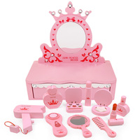 Wooden children Real Life Beauty Makeup toys simulation play house princess dressing table girl cosmetics set Gift for kids