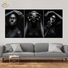 Black Style Art Pose Wall HD Prints Canvas Painting Modular Picture And Poster Decoration Home 3 PIECES