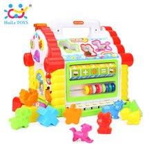 Huile игрушки 739 многофункциональный музыкальный Игрушки ребенок весело ДОМ электронный геометрический Блоки сортировки обучения Развивающие Игрушки