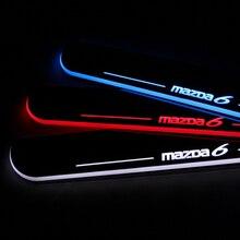 2 ШТ. Для Mazda 6 Atenza Автомобилей СВЕТОДИОДНАЯ Вспышка Движущегося Света «передняя Защита Порогов Скребок Добро Пожаловать Педаль 2013 2014 2015