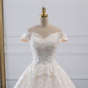 Image 4 - Fansmile Luxury Lace Long Train Ball Gown Wedding Dress 2020 Vestidos de Novia Princess Quality Wedding Bride Dress FSM 527T
