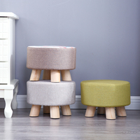 Fabric stool Fashion Household living room small mound sofa stool wooden small chair stool bedroom bench kids furniture
