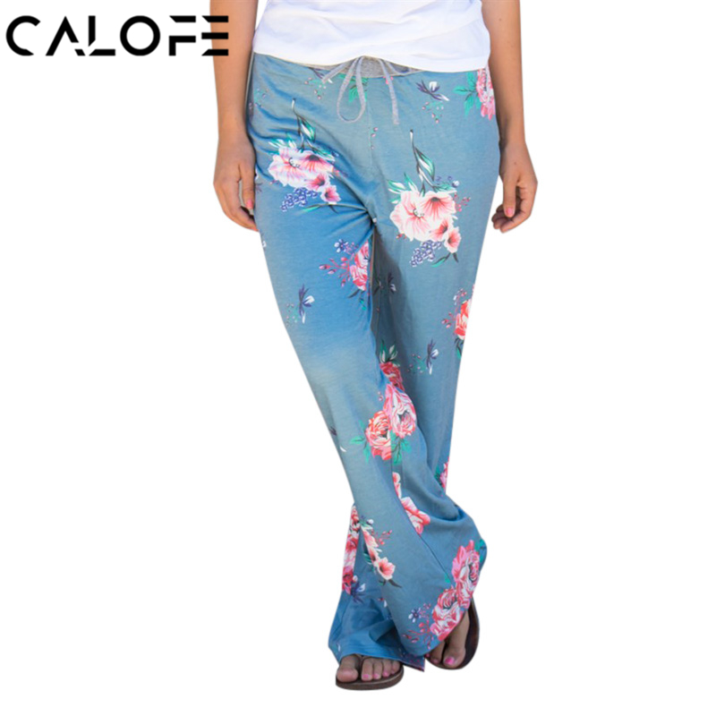 CALOFE Light Blue Women Wide Legs Sport Pants Floral Printed Yoga Pants Drawstring Loose ...