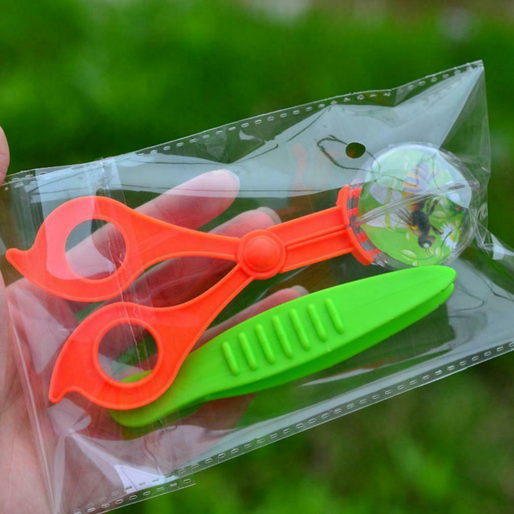 Kids Plastic Scissor Clamp Tweezers Nature Exploration Toy Kit Children School Plant Insect Biology Study Tool Set