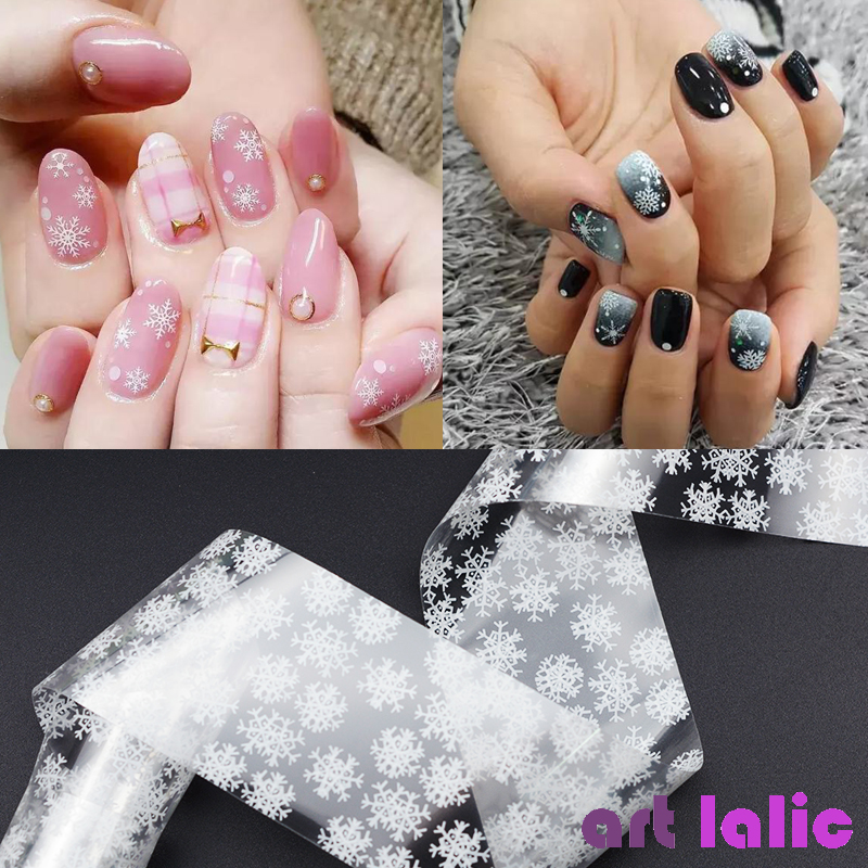 1 roll 4*100CM Holographic Snowflake Nail Foils White Snow Christmas Design Nail Art Transfer Foil Transfer Sticker Paper nail transfer foil holographic green design foil roll star paper fashion nail art decoration diy accessories nail tools wy233
