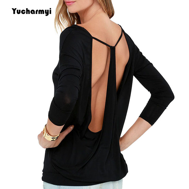 76061997b93e25 Backless Long Sleeve Shirt V Neck Tops Basic T Shirt Sexy Clothing Cut Out  Low Back Workout Shirts for Women Loose Fit Black