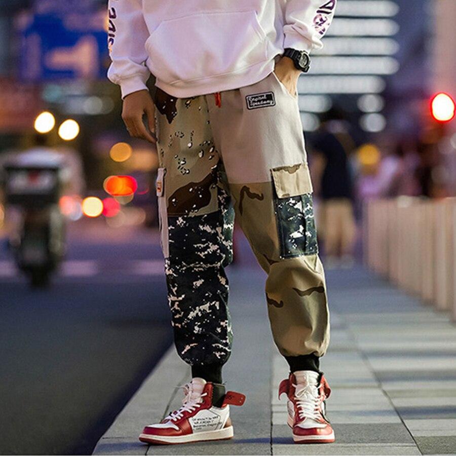 Été décontracté pantalon hommes lâche cheville longueur poche 5XL coton Harem Patchwork Camouflage jeunesse nouvelle mode élastique taille Hiphop