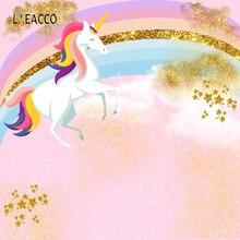 Laeacco 만화 유니콘 파티 아기 생일 무지개 사진 배경 사진 스튜디오에 대한 사용자 지정 사진 배경