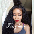 Sexy!!Loose Curly Synthetic Lace Front Wig with Baby Hair Heat Resistant Black Curly for Black Women High Density Lace Front Wig