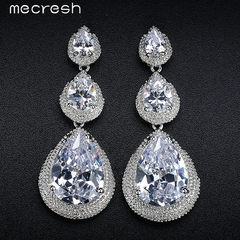 Mecresh Black/Silver Color CZ Bridal Hanging Earrings for Women 2017 Wedding Party Long Drop Brincos Christmas Jewelry EH686