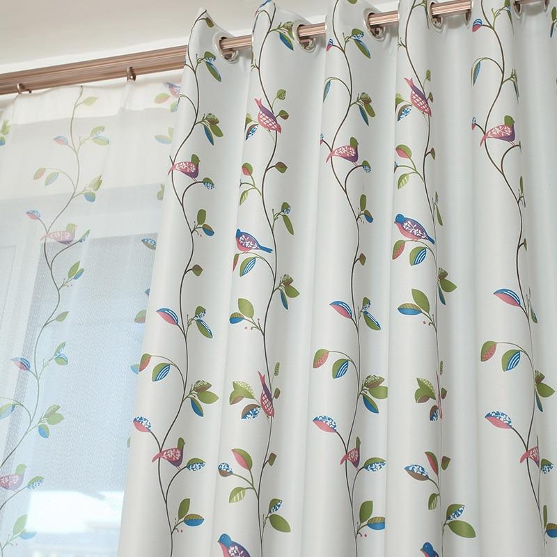 Kuşlar ve Yapraklar Karartma Perdeleri Oturma Odası Yatak Odası Ev - Ev Tekstili - Fotoğraf 4