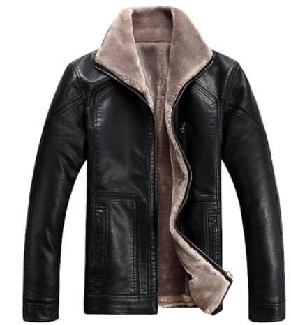 M-4XL! invierno de Los Hombres de piel de una pieza chaqueta de cuero lavado con agua prendas de vestir exteriores de los hombres abrigo de cuero caliente espesa! M-6XL envío libre