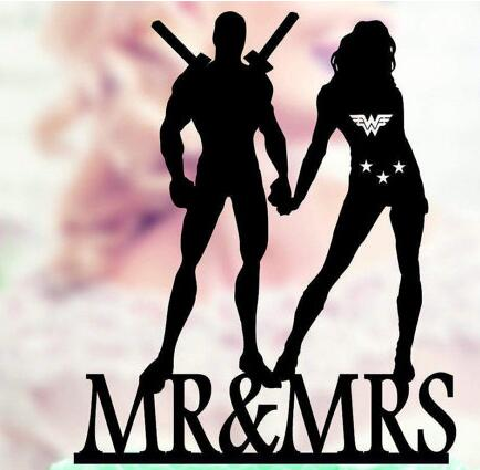 Personalized Deadpool And Wonder Woman Wedding Birthday Cake Toppers